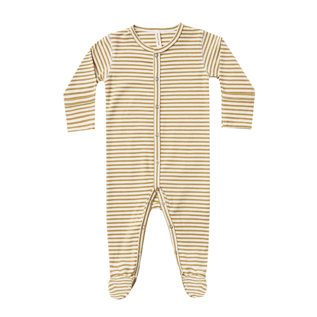 Quincy Mae Full Snap Footie Gold Stripe