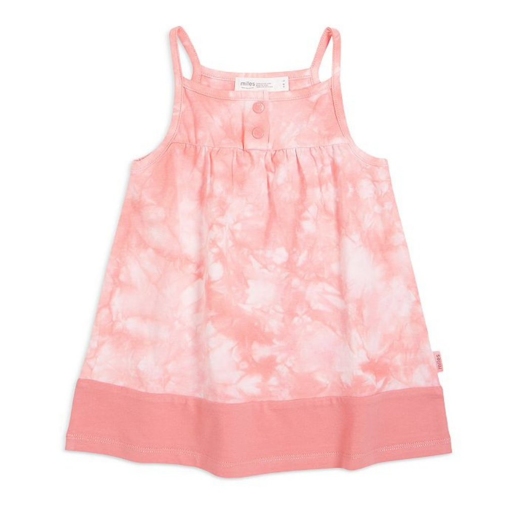 Miles Baby Tie Dye Dress in Light Coral