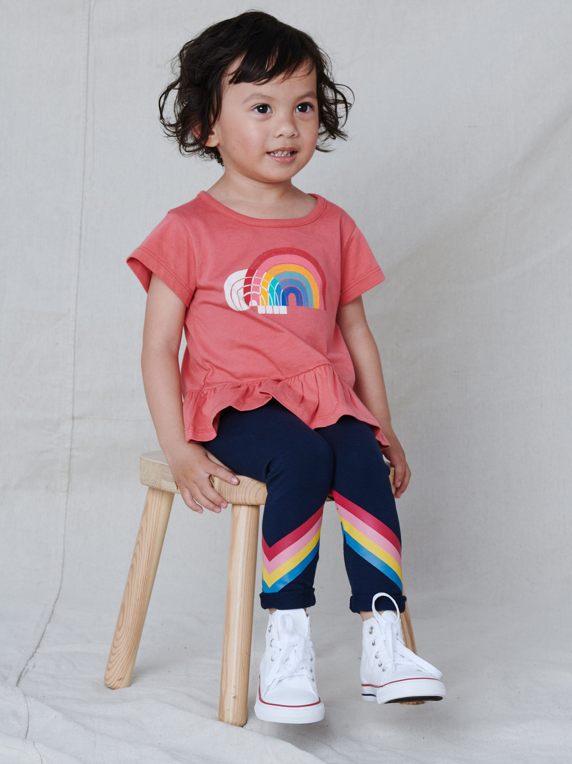 Tea Rainbow Leggings-Whale Blue