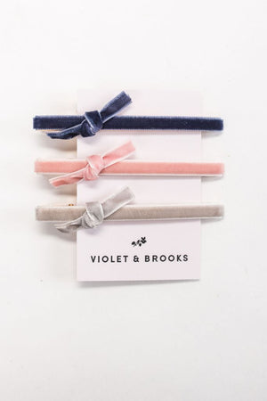 Violet and Brooks Velvet Bow Clip Trio