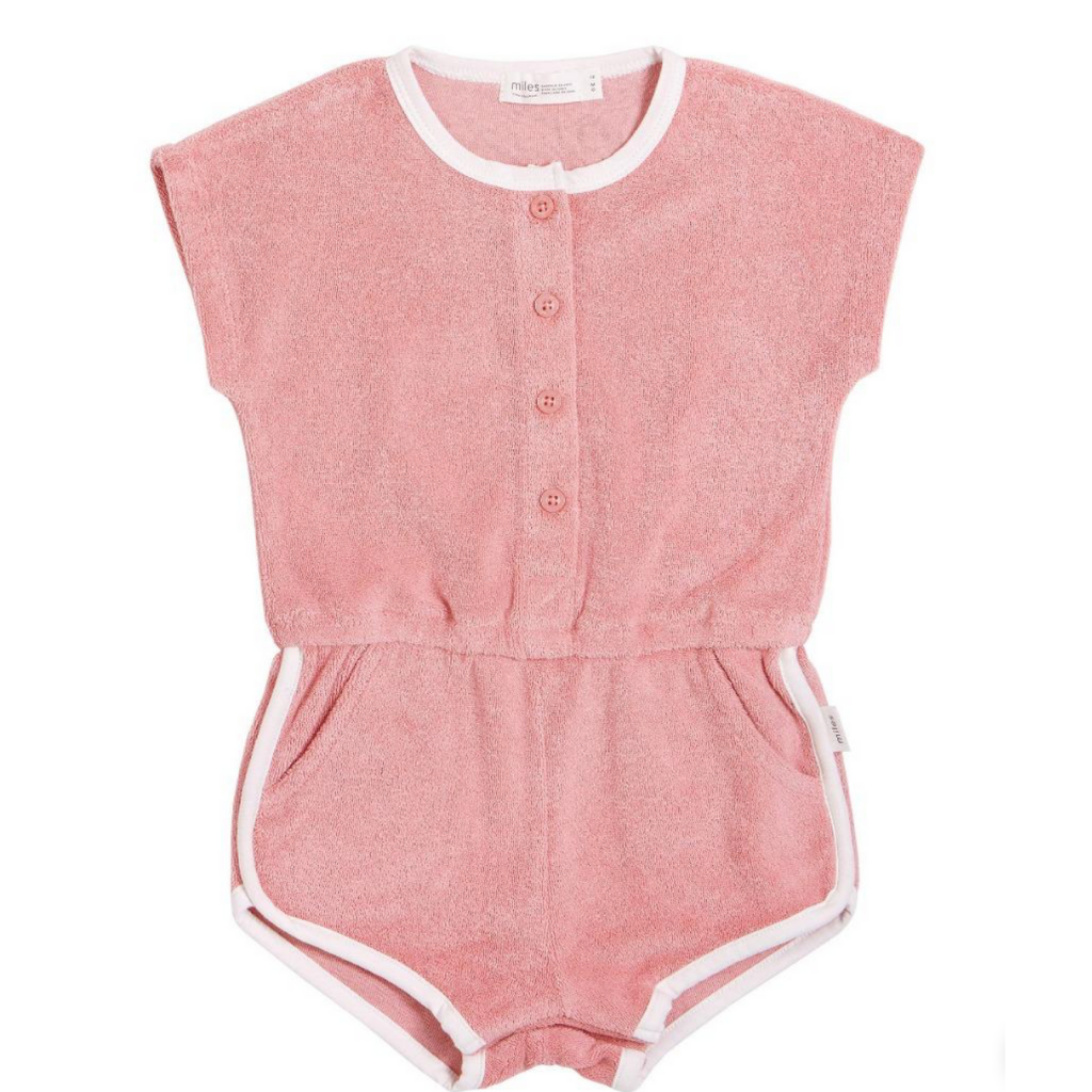 Miles Baby Terry Cloth Romper in Light Coral
