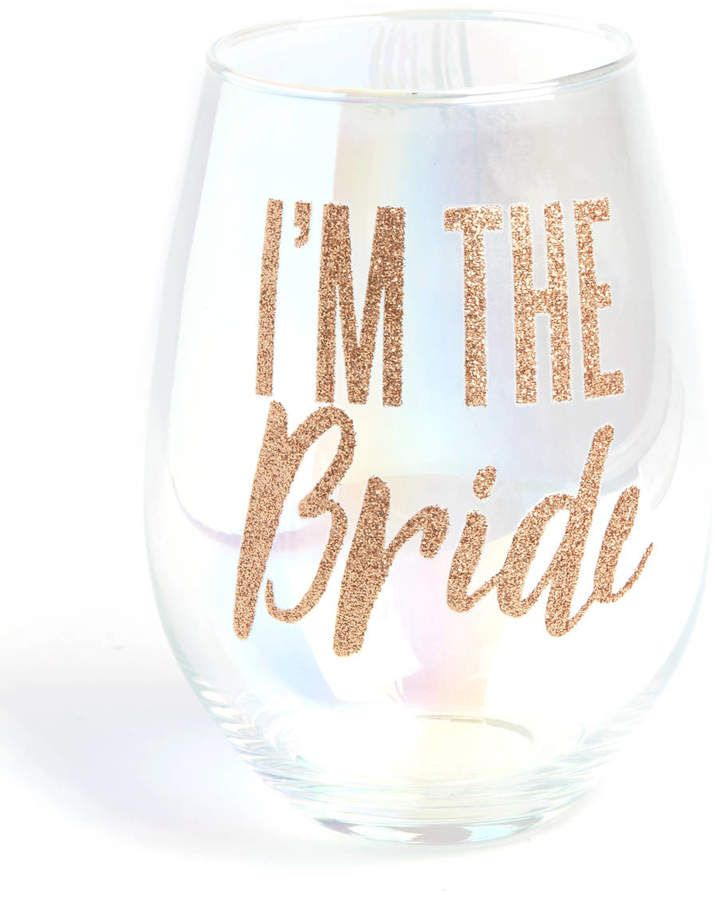Slant I'm the Bride Wineglass