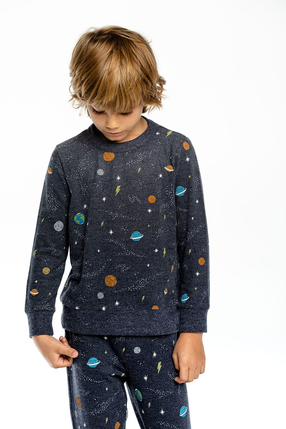 Chaser L/S Crew Neck Pullover-Planets