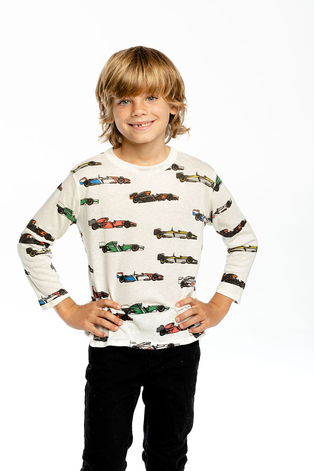 Chaser L/S Crew Neck-Vintage Race Cars