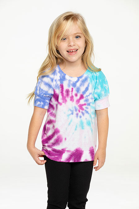 Chaser Rpet Bliss Knit Puff SS Pullover Tie Dye