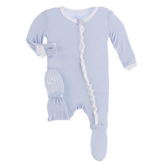 Kickee Ruffle Footie with Zipper Frost with Natural