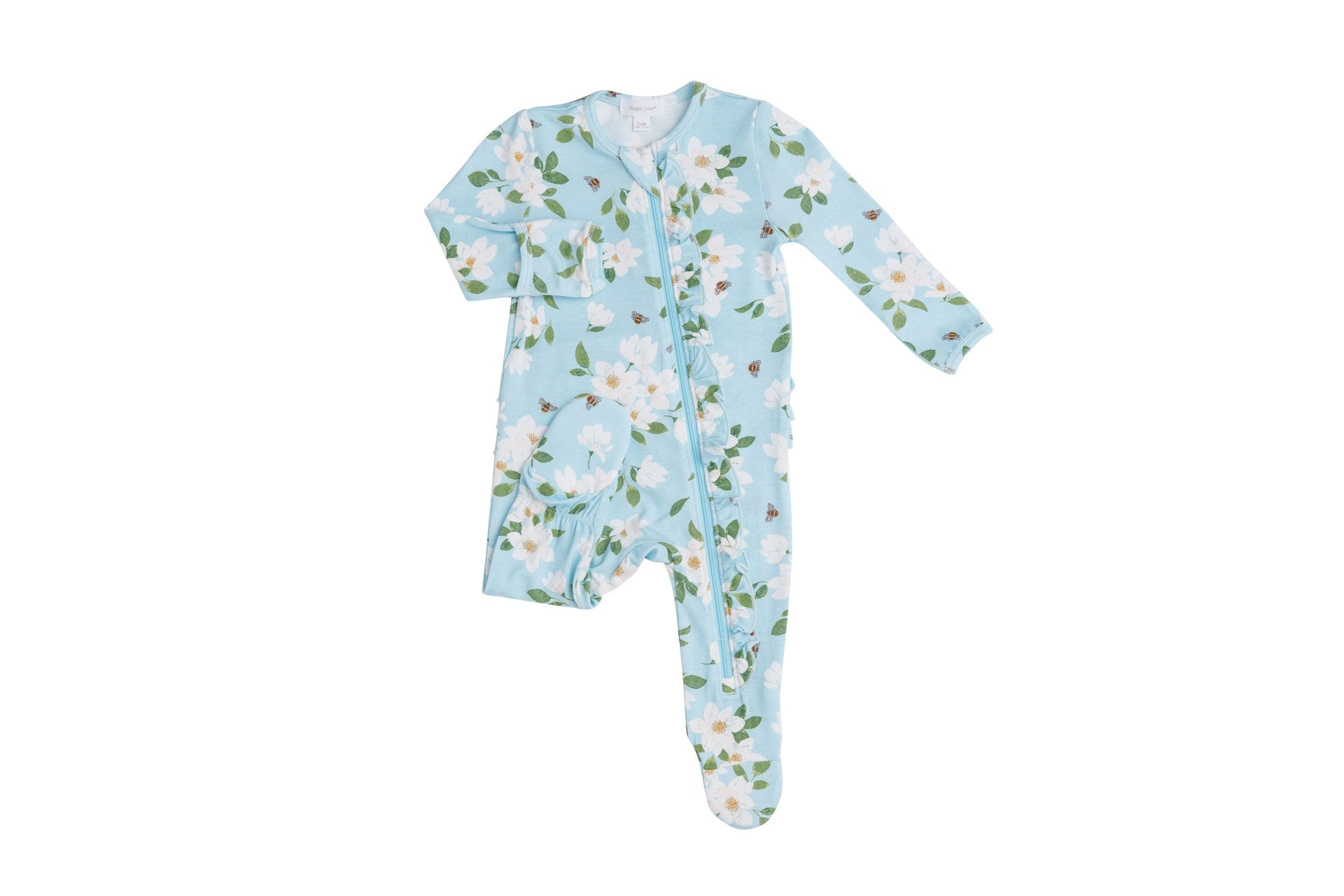 Magnolia Blue Ruffle Front Zipper Footie Blue