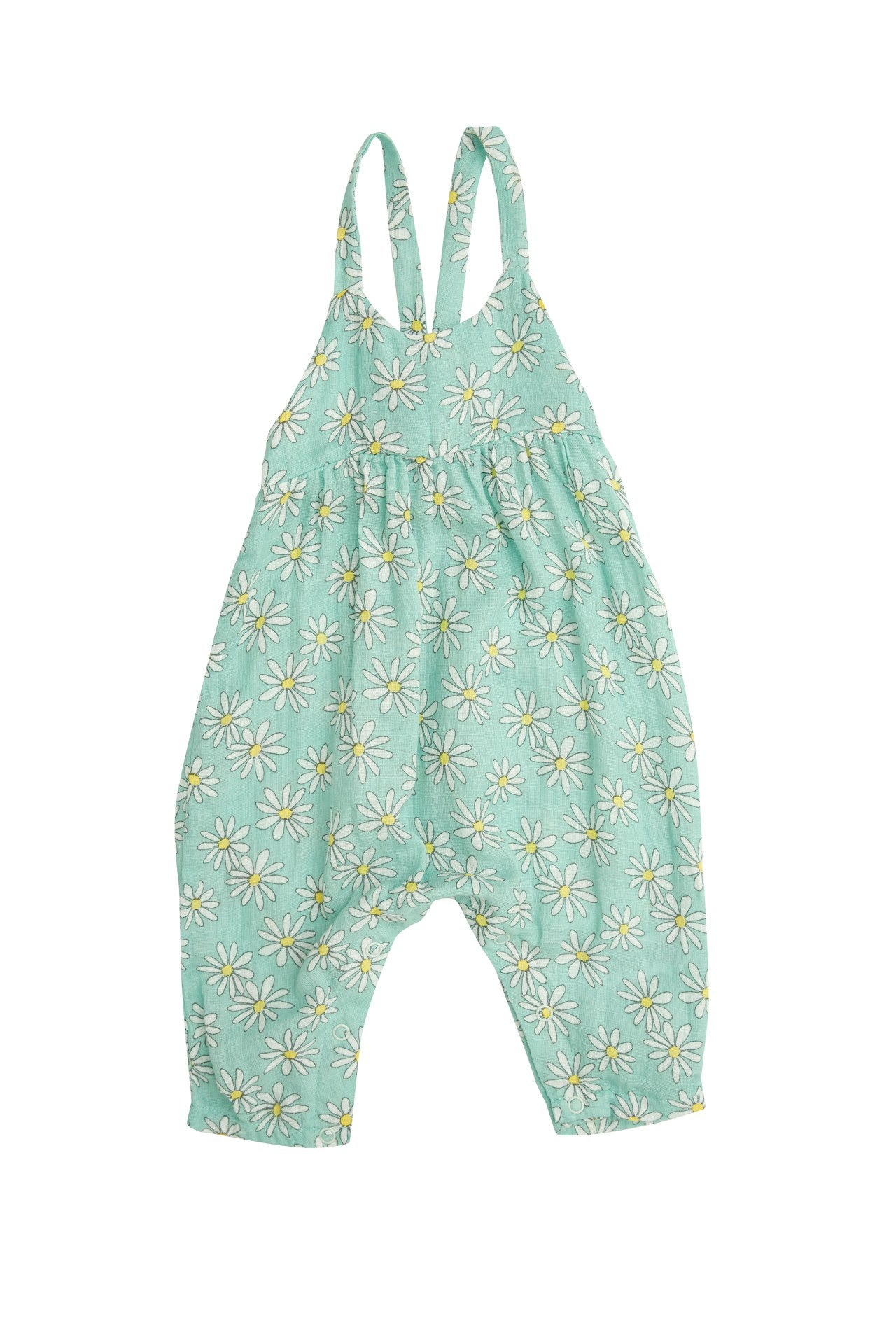 Flower Power Mint Tie Back Romper