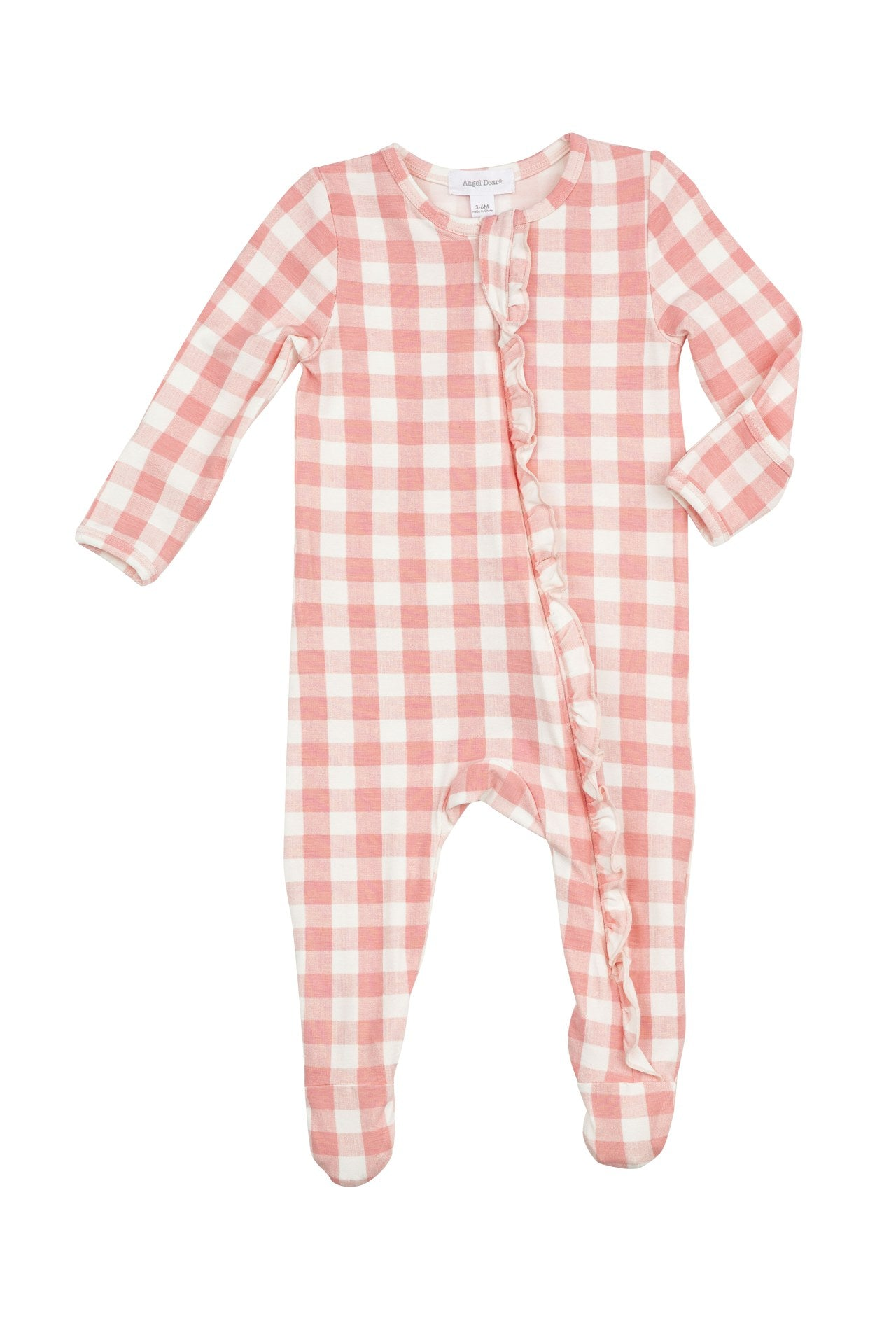 Angel Dear Gingham Pink Zipper Footie