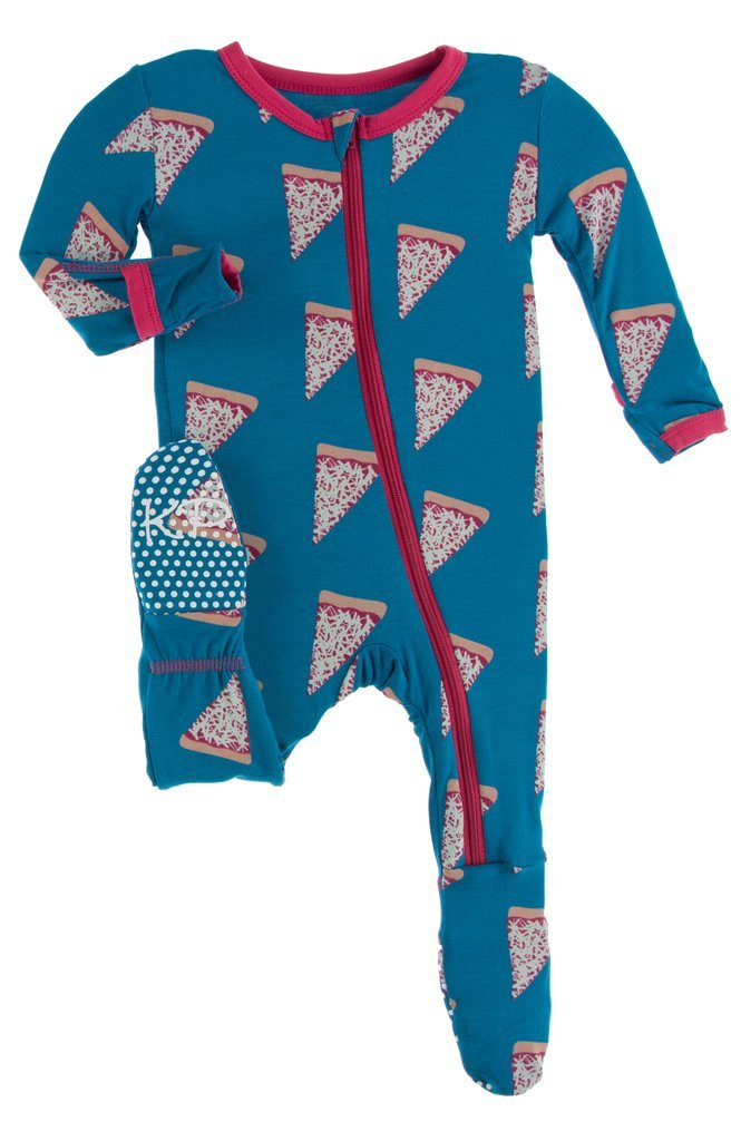Kickee Pants Seaport Pizza Zipper Footie