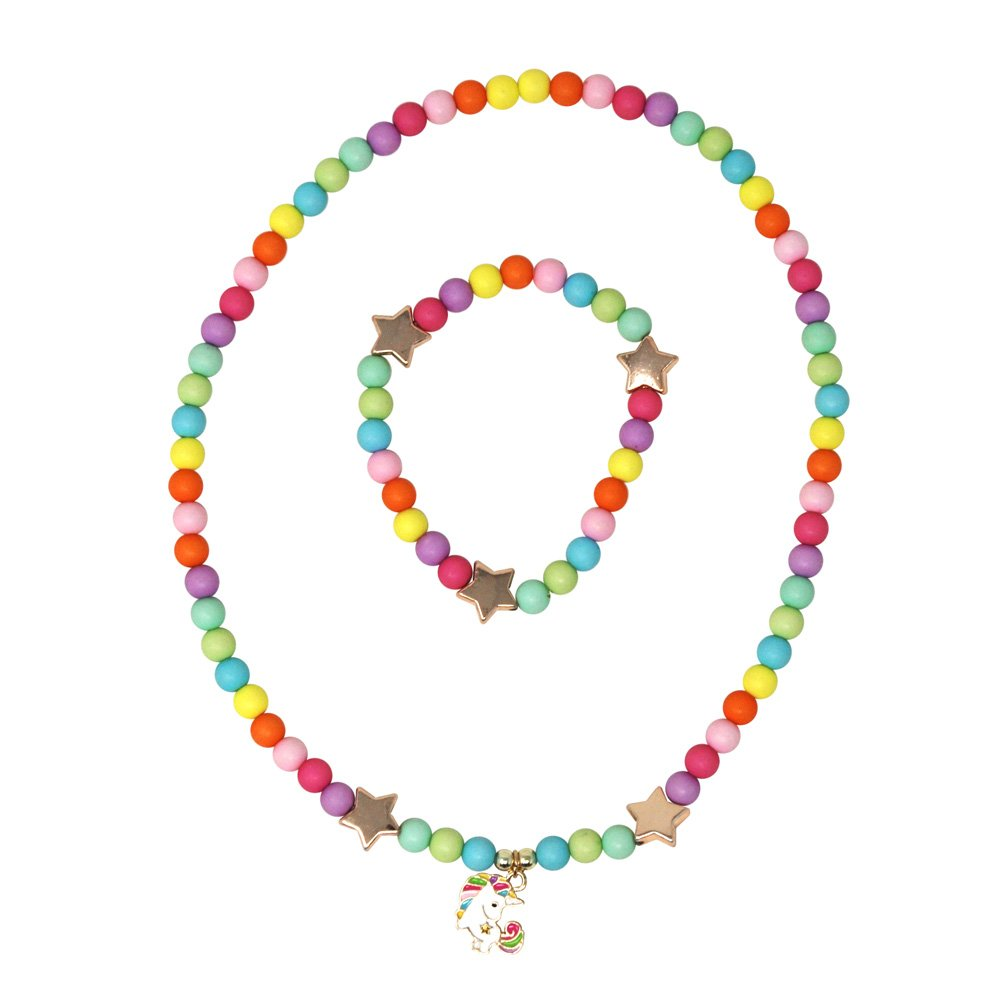 Pink Poppy Unicorn Necklace and Bracelet Set