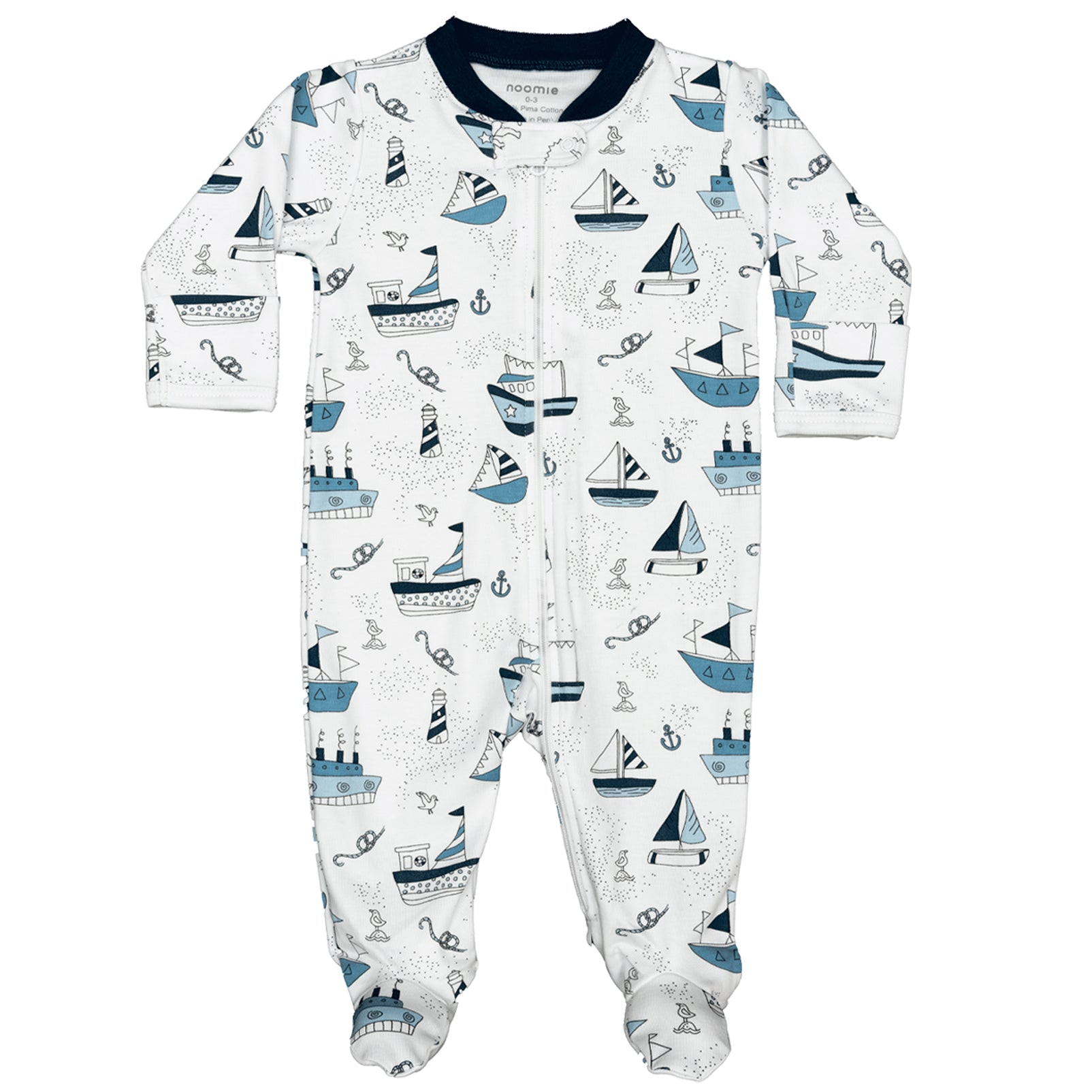 Baby Noomie Zipper Footie Boats
