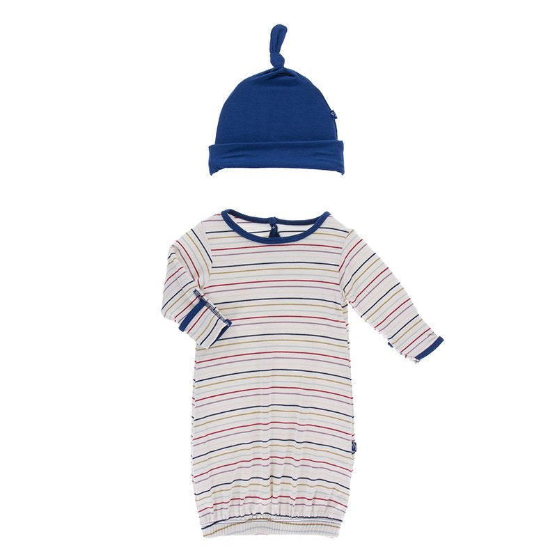 Kickee Stripe Gown and Hat Set