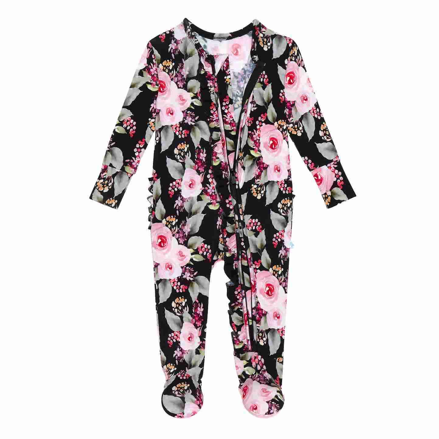 Posh Peanut Milana Ruffled Zippered One Piece Footie