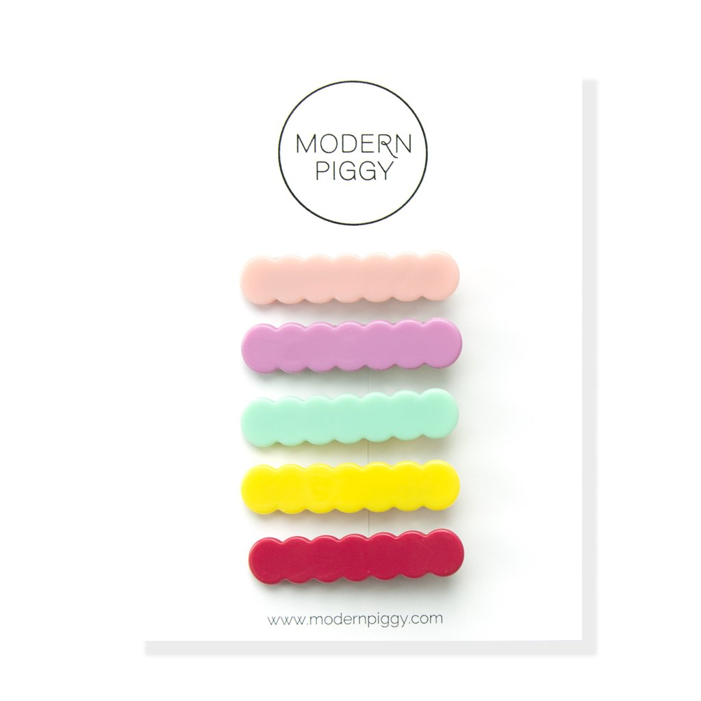 Modern Piggy Colorful Scallop Clip Set