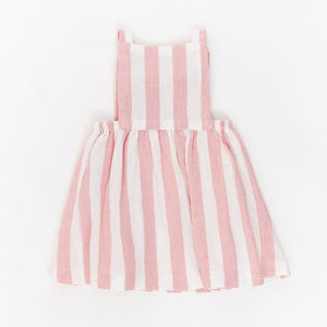 Thimble Pinafore Dress Rose Stripe
