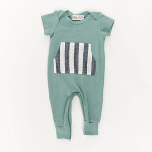 Thimble Zipper Romper Pond Stripe