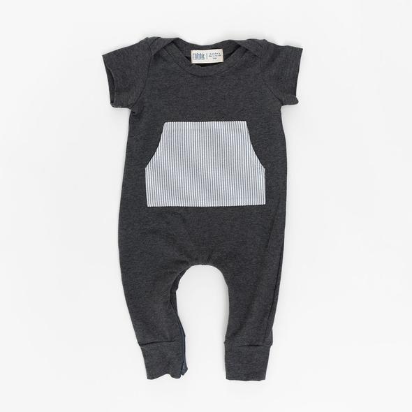 Thimble Zipper Romper Stone