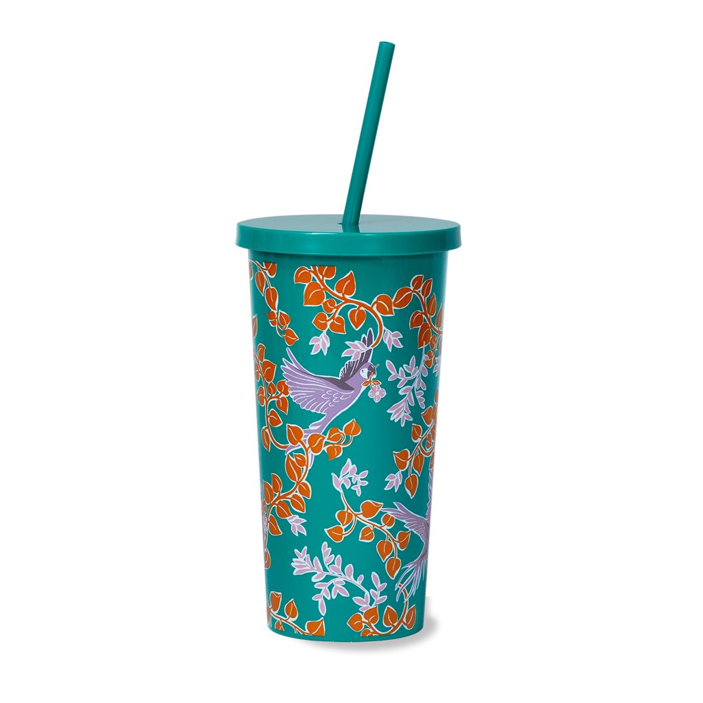 Kate Spade New York Tumbler With Straw Snow Bird Party