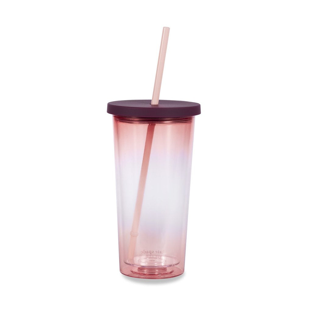 Kate Spade New York Tumbler With Straw Pink Ombre