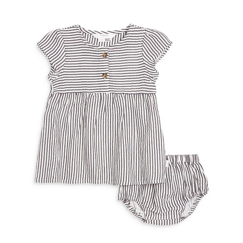 Petit Lem Grey Stripe Dress and Bloomer Set