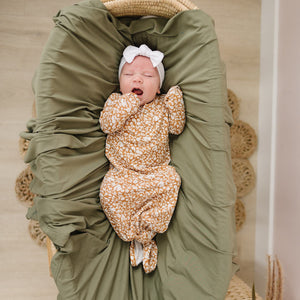 Mebie Baby Mustard Floral Gown