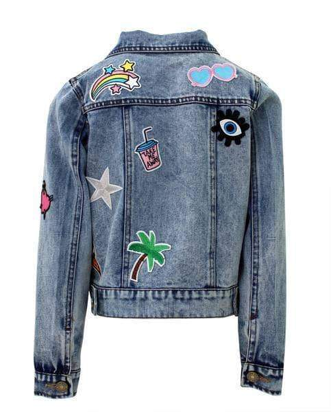 Lola and The boys Patch Crop Denim Jacket