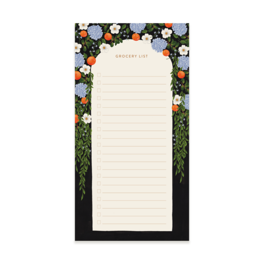Orange Blooms Grocery Notepad