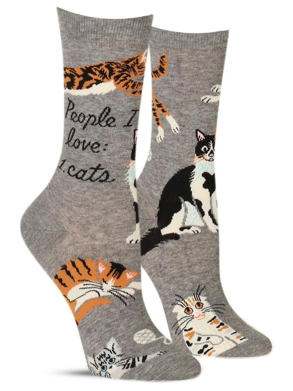 Blue Q Women's Crew Socks People I Want to Meet Cats