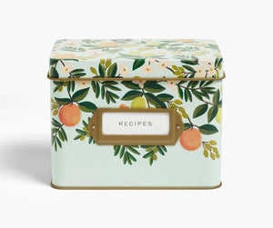 Rifle Paper Citrus Floral Tin Recipe Box