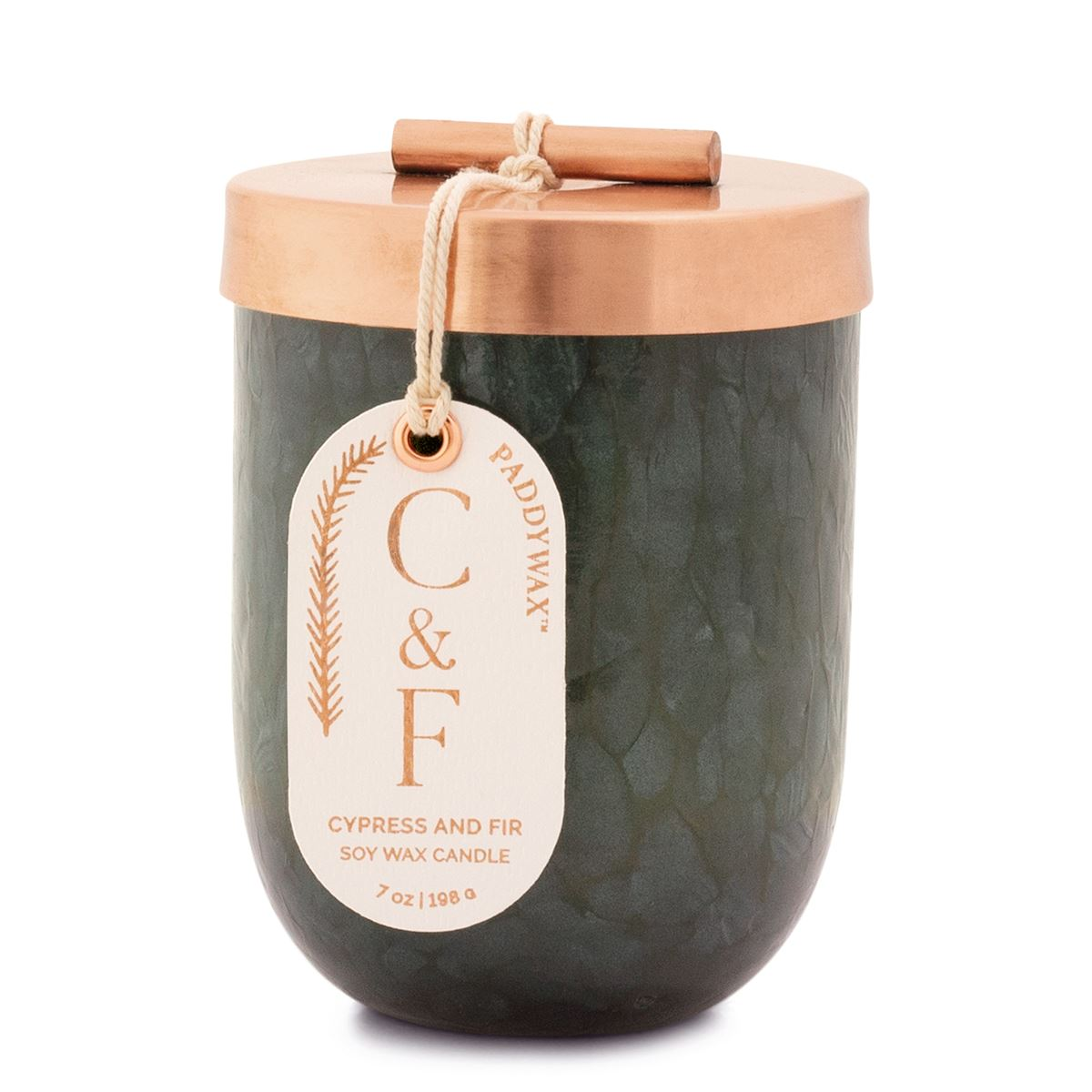 Paddywax Cypress and Fir 7oz Green Cheen with Copper Lid