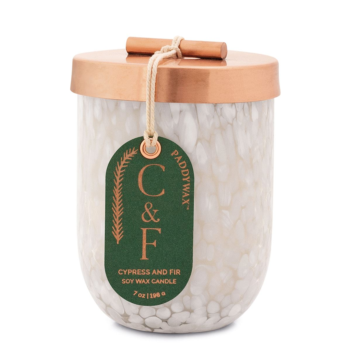 Paddywax Cypress and Fir 7oz White Cheena with Copper Lid