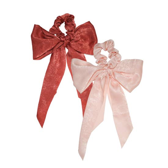 Kitsch Blush and Mauve Satin Bow Satin Scarf