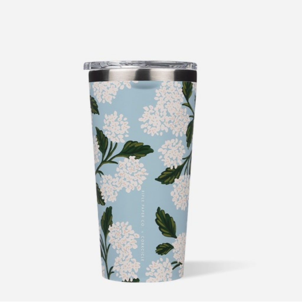 16oz Rifle Paper Tumbler-Gloss Blue Hydrangea