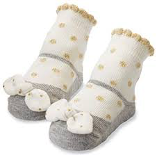 Mudpie Gold Dot Bow Socks