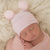 Ily Bean Stripped Pink Double Pom Poms Newborn Hat