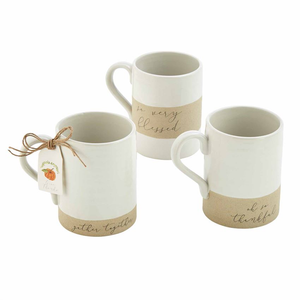 Mudpie Thankful Stoneware Mugs