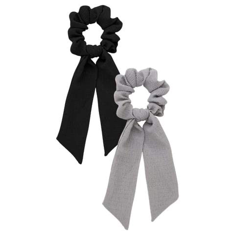 Kitsch Black and Grey Satin Bow Satin Scarf