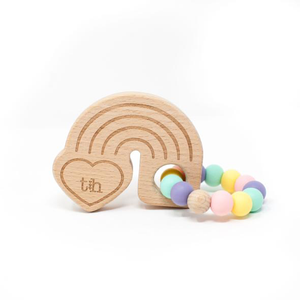 Three Hearts Rainbow Teether Beech Wood