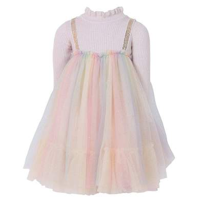Lola and the Boys Rainbow Shimmer Tulle Dress