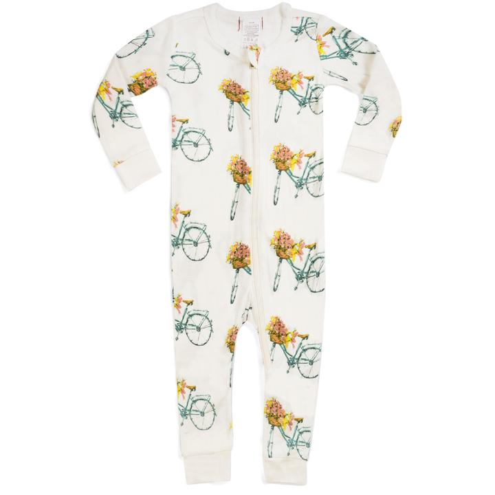 Milkbarn Bicycle Floral Zippered Pajamas