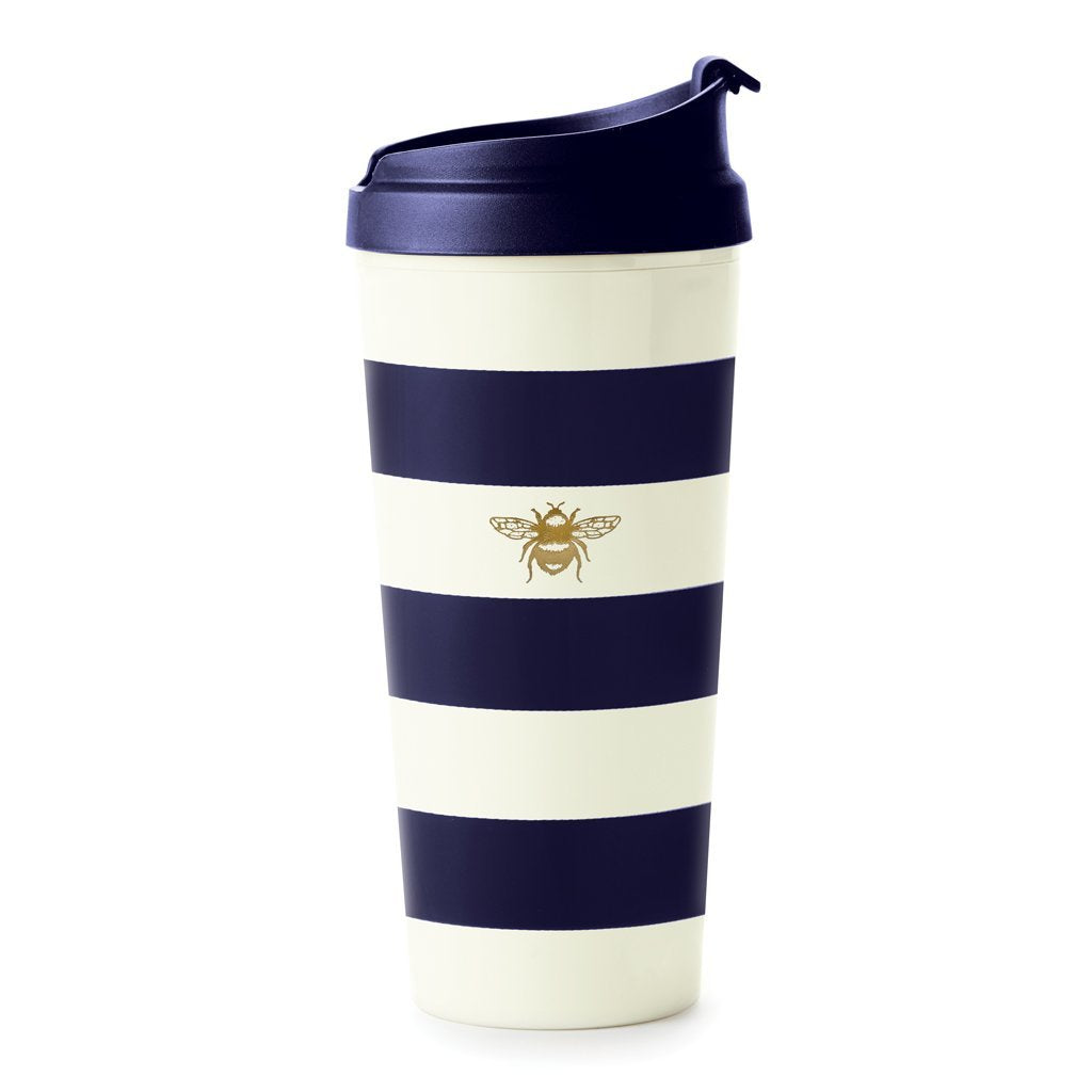 Kate Spade New York Thermal Mug Navy Stripe with Bee