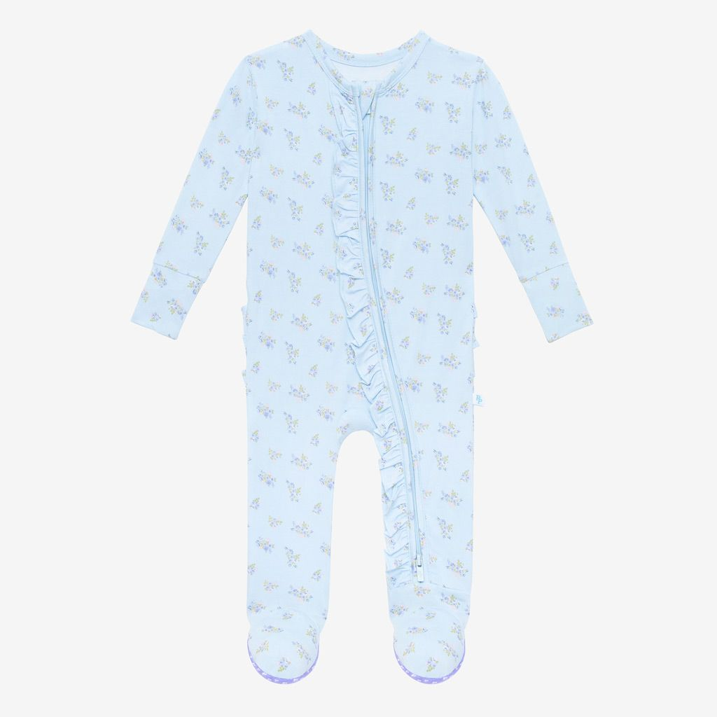 Posh Peanut Grace Ruffled Zippered Footie