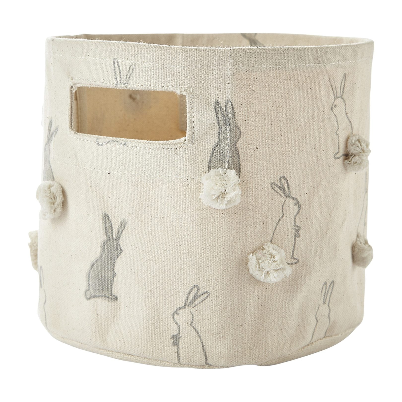 Pehr Bunny Hop Mini Bin with Pom Poms