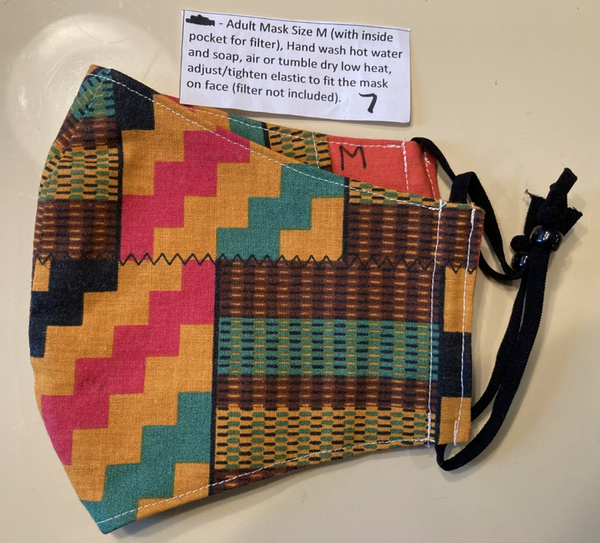 """Mixed Kente Cloth"" Fabric Mask by Wannetta Phillips"