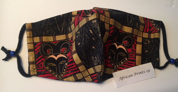 """Red Black and Gold"" Fabric Mask by Ellaree Pray"