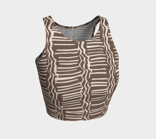 African Body Chalk - Crop Top - Earth Brown Patterned