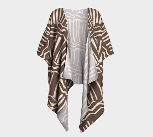 African Body Chalk Draped Kimono - Earth Brown