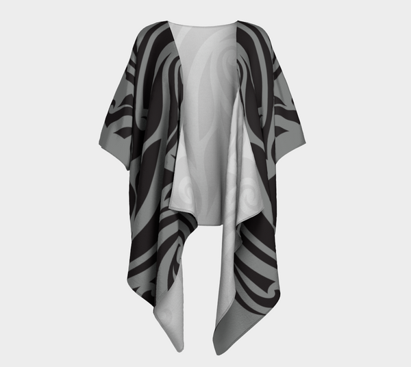 Islander Tattoo Draped Kimono - Gray/Black
