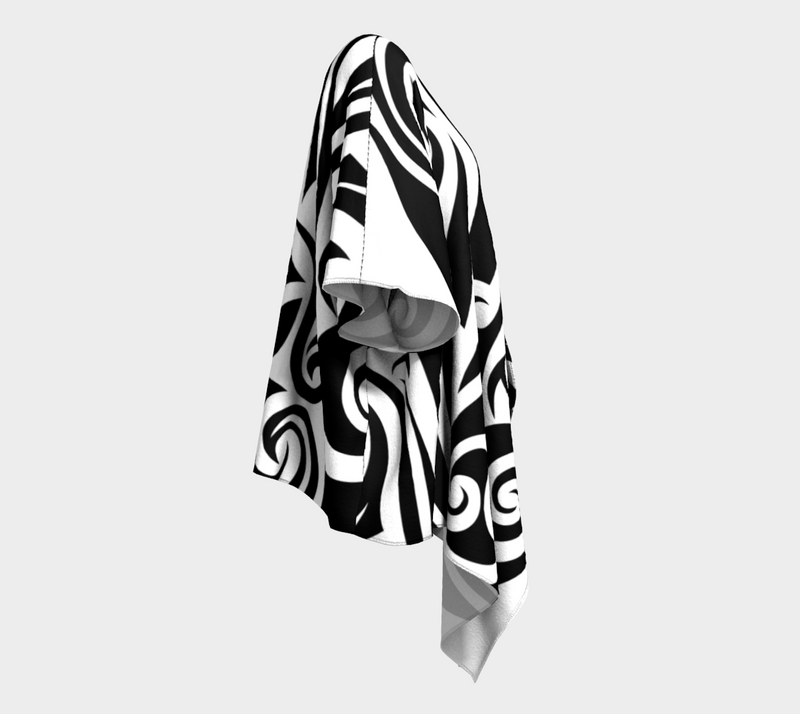 Islander Tattoo Draped Kimono -Black/White